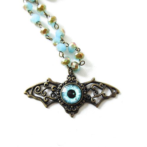 Winged Eyeball Necklace Turquoise