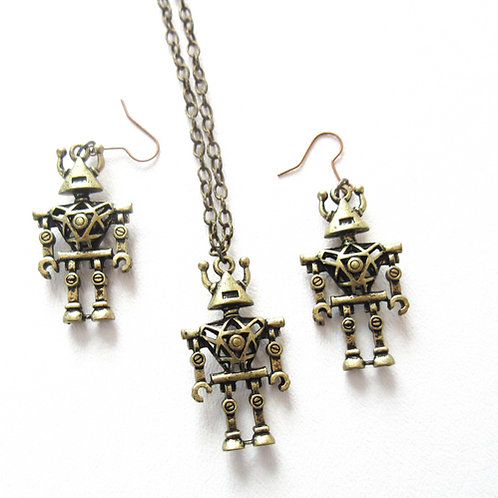 3D Robot Earring and Necklace Set