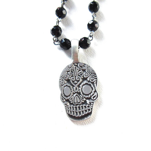 Pewter Sugar Skull Necklace