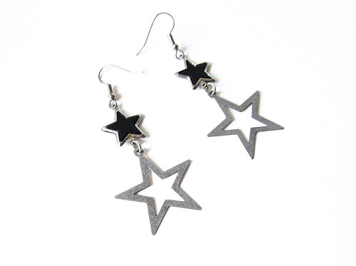 Black and Silver Double Star Earrings