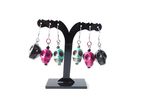Howlite Skull Earrings Turquoise, Fuschia, or Black