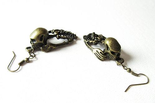 Brass Skeleton Earrings