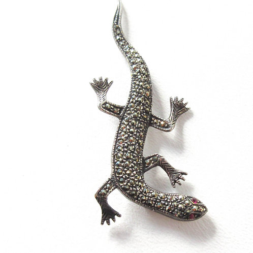 Vintage Sterling and Marcasite Lizard Pin