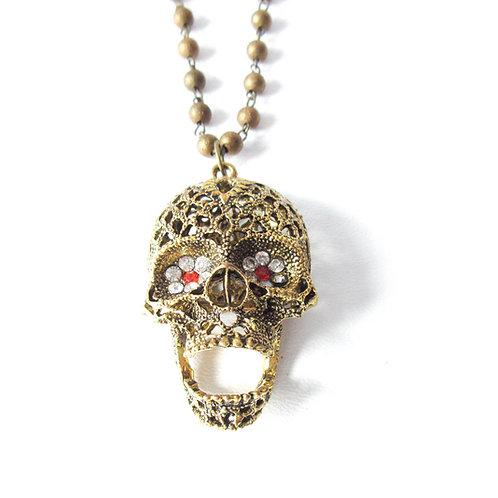 Rhinestone Skull Statement Necklace