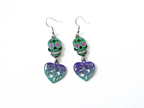 Ombre Heart and Sugar Skull Earrings
