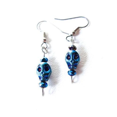 Electric Blue Skull Earrings