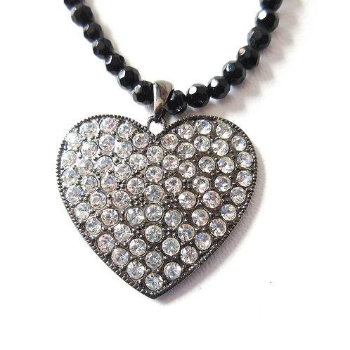 Cookie Lee Rhinestone Heart Necklace
