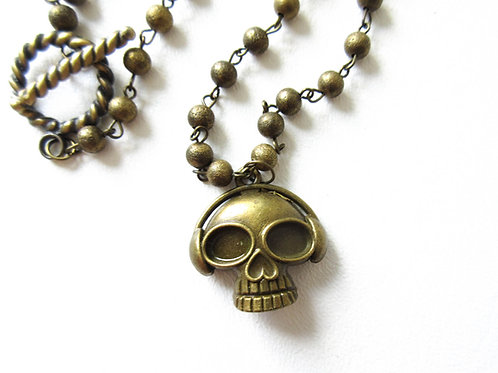 Skull with Headphones Necklace