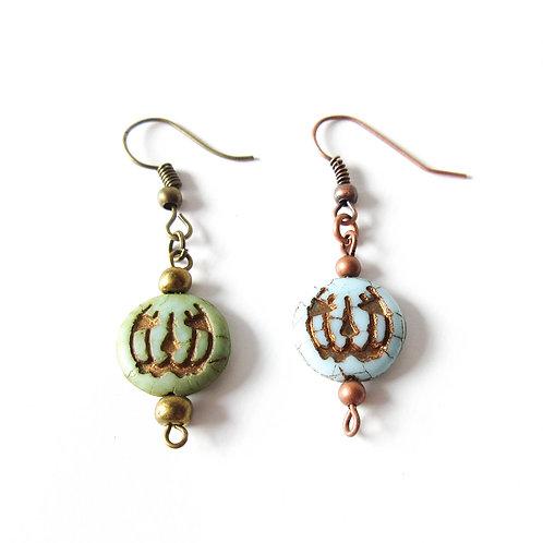 Czech Glass Jack O Lantern Earrings Green or Turquoise