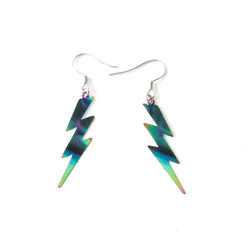 Rainbow Stainless Steel Lightning Bolt Earrings