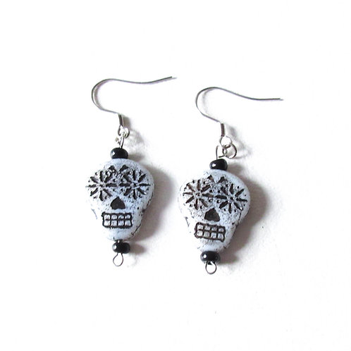 White Czech Glass Sugar Skull Earrings