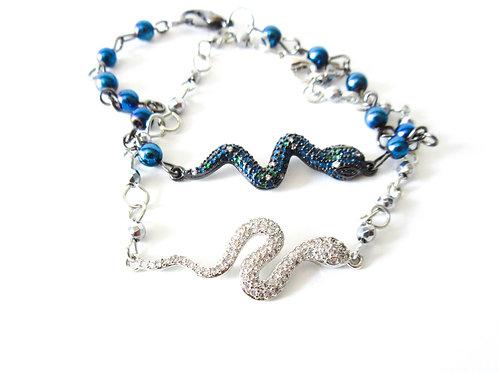 Bling Snake Bracelet Silver or Blue