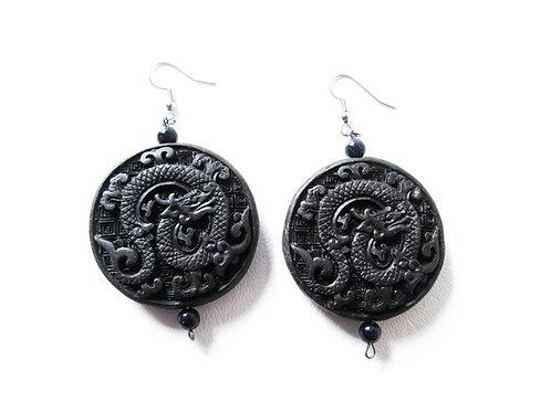 Black Cinnabar Dragon Earrings