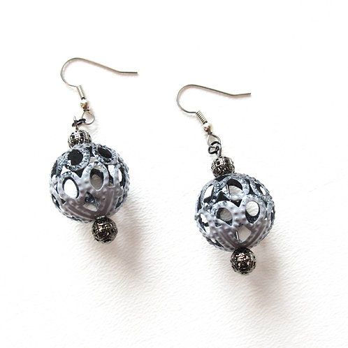 Black and Gray Filigree Cage Earrings