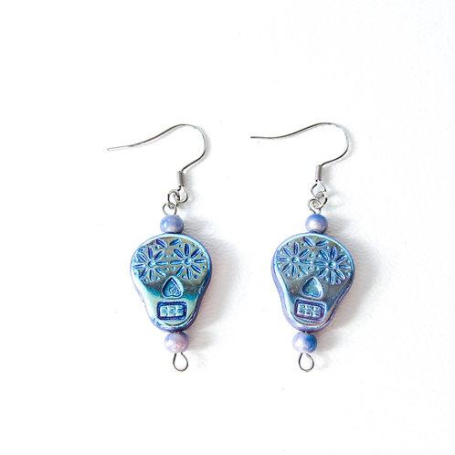 Iridescent Lavender Sugar Skull Beads