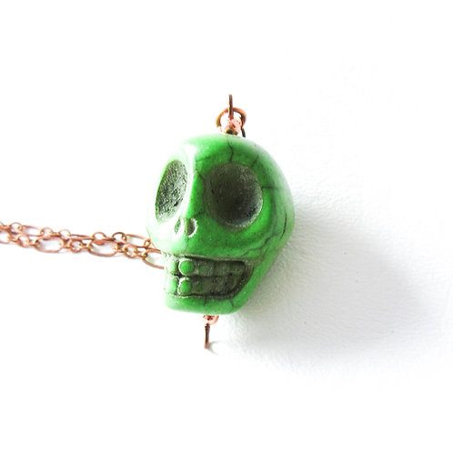 Large Green Skull Necklace