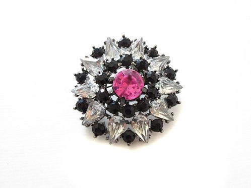 Vintage Black and Clear Rhinestone Pin
