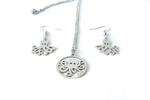 Stainless Steel Octopus Necklace and Earrings Set