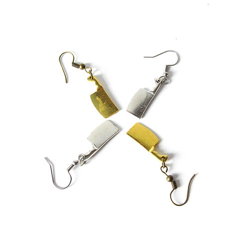 Small Cleaver Earrings Silver or Gold Tone