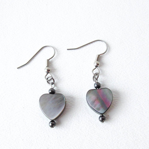 Gray Mother of Pearl Heart Earrings