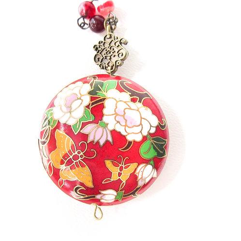 Red Cloisonné  Medallion Necklace