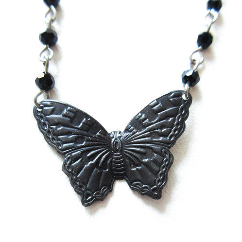 Black Butterfly Rosary Necklace