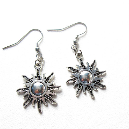 Silver Tone Sunburst Earrings