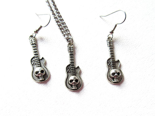 Skull Guitar Necklace and Earring Set