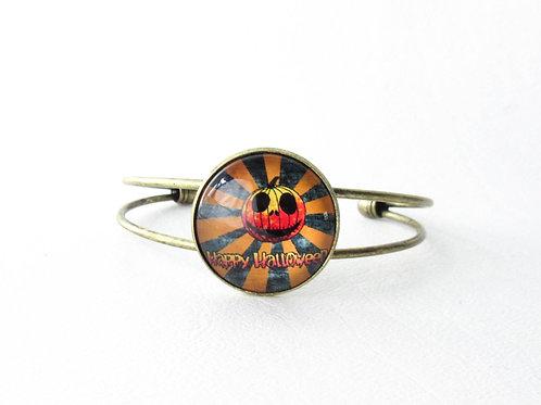 Happy Halloween Jack O Lantern Cuff Bracelet