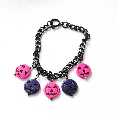 Pink and Purple Jack O Lantern Bracelet