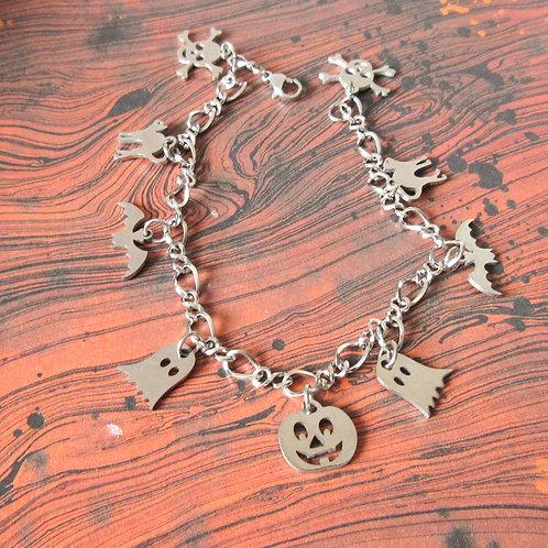 Stainless Steel Halloween Charm Bracelet