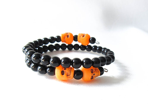 Black and Orange Skull Memory Wire Bracelet