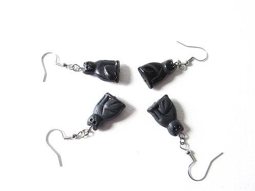 Glass Black Cat Earrings