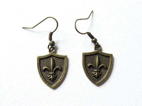 Fleur de Lis Shield Earrings