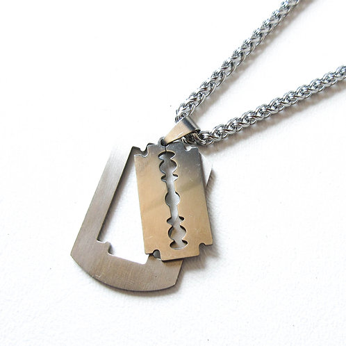 Stainless Steel Razor Blade Dog Tag Necklace