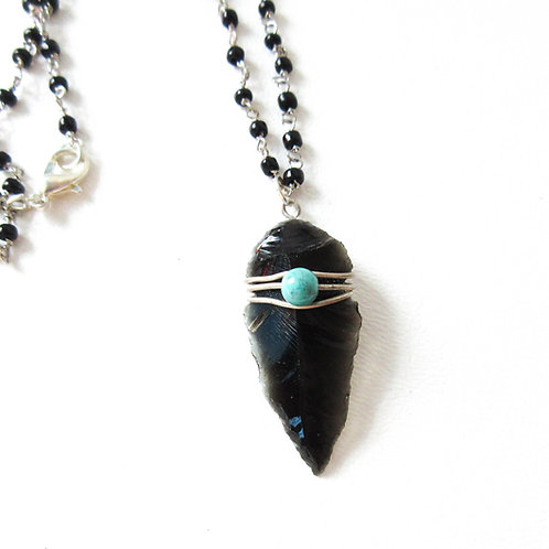 Lava Glass Arrowhead Necklace
