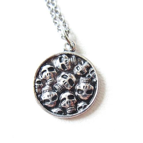Skull Circle Pendant on Stainless Steel Chain