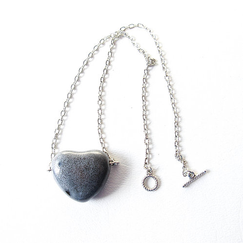 Gray Porcelain Puffed Heart Necklace