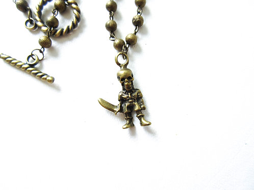 Skeleton with Knife Necklace