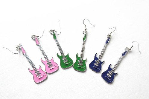 Guitar Earrings Pink Purple or Green
