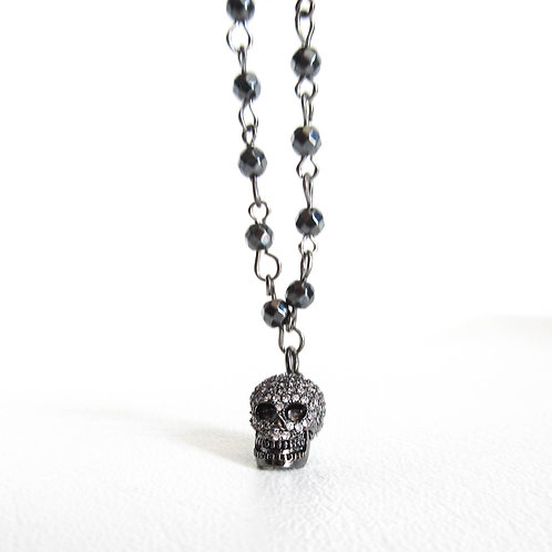 Micro Pave Skull Necklace