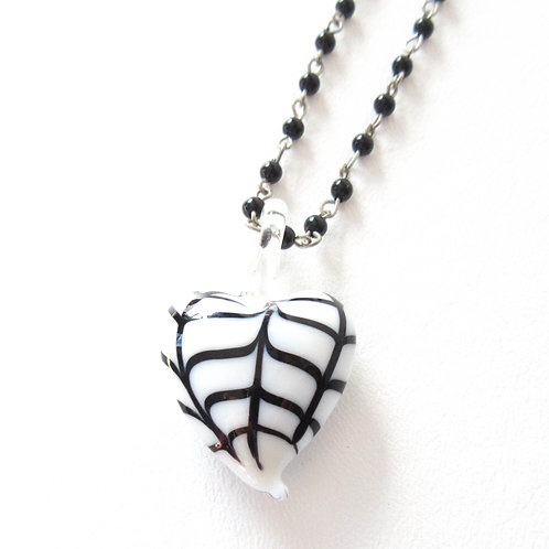 Spiderweb Heart Rosary Necklace