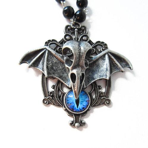 Bird Skull Necklace with Blue Eye