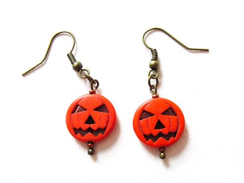 Orange Howlite Jack O Lantern Earrings