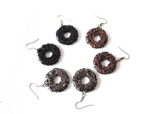 Metal Wreath Earrings Black Gunmetal Copper