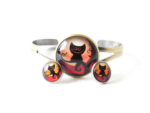 Black Chesire Cat Bracelet and Earring Set