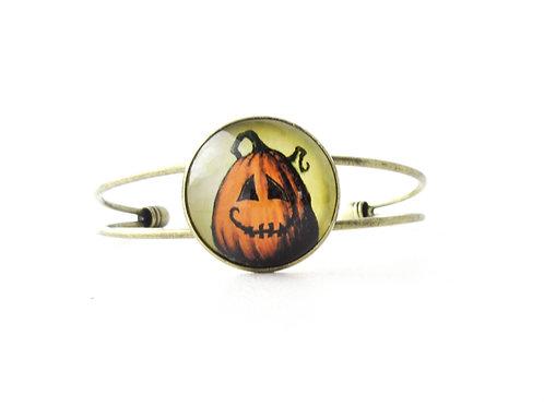 Smiling Jack O Lantern Cuff Bracelet