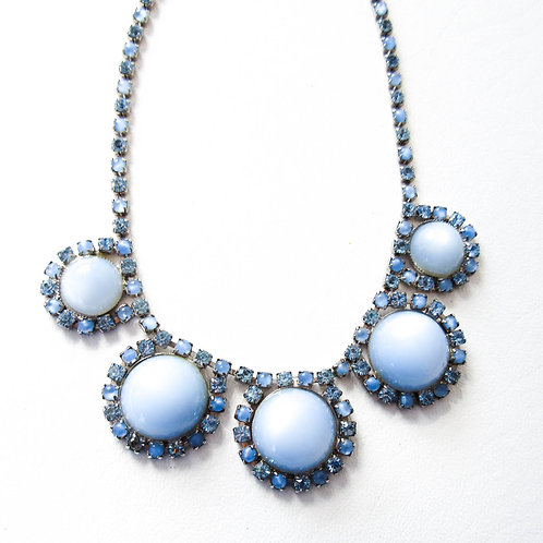 Vintage Blue Moonstone and Rhinestone Necklace