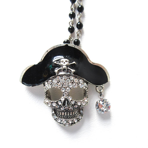 Rhinestone Pirate Skull Rosary Necklace