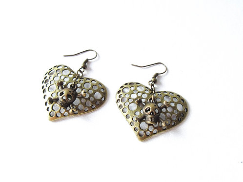 Heart Earrings with Skull and Crossbones Charms
